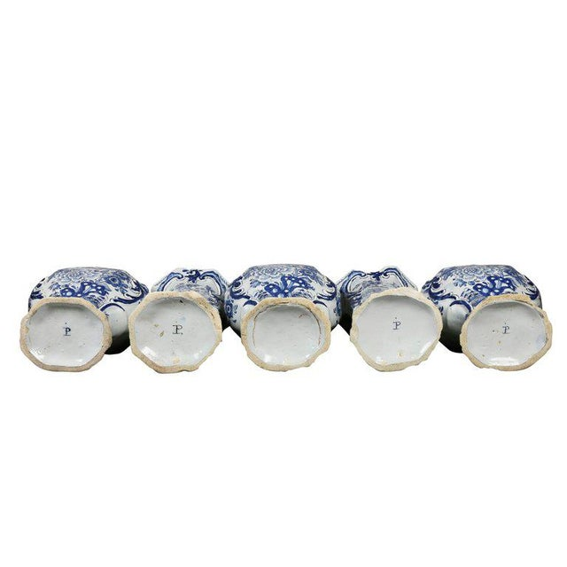Delft Five-Piece Blue and White Pottery Garniture For Sale - Image 9 of 11