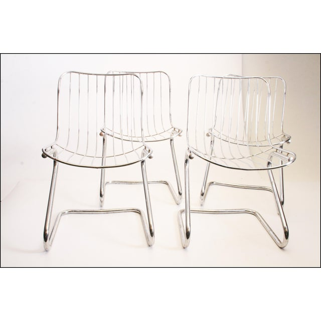 Vintage Italian Chrome Metal Dining Chairs - Set of 4 - Image 2 of 11