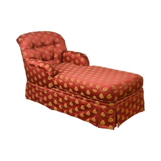 Custom Red & Gold Tufted Upholstered Chaise Lounge For Sale