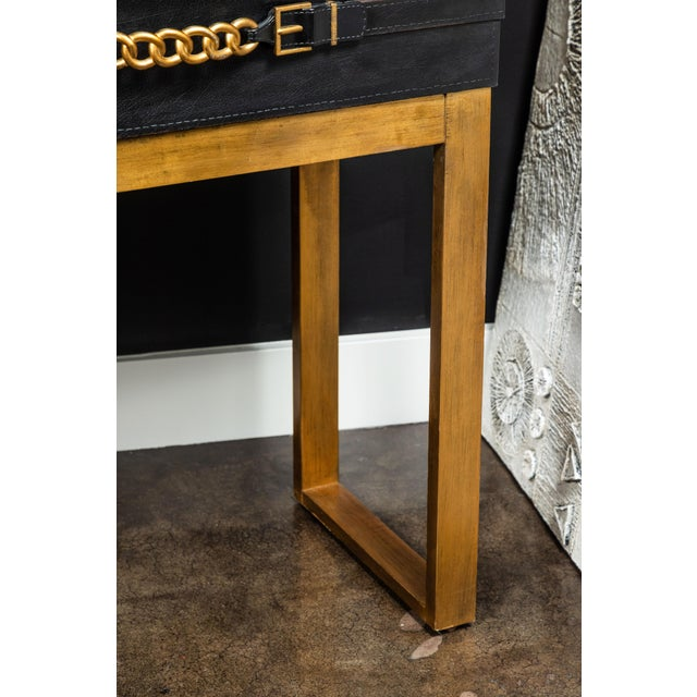 Metal Vintage Leather and Metal Console Table For Sale - Image 7 of 9