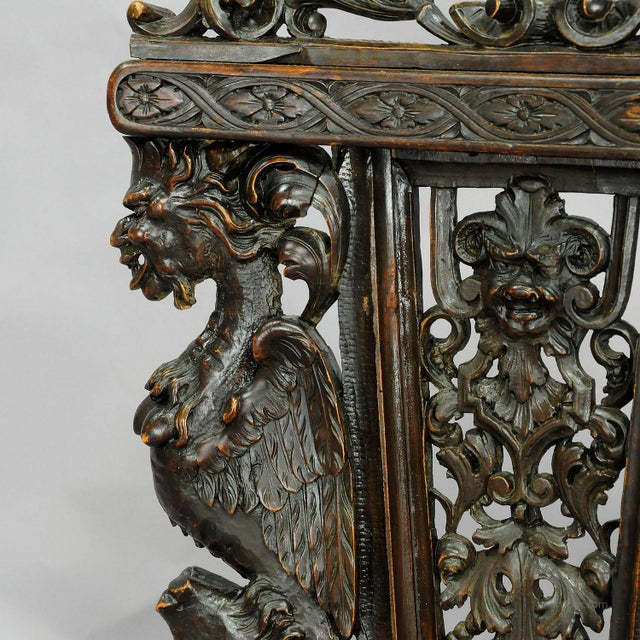 A Great Renaissance Style Italian Sgabello Chair Ca. 1860 For Sale - Image 9 of 13