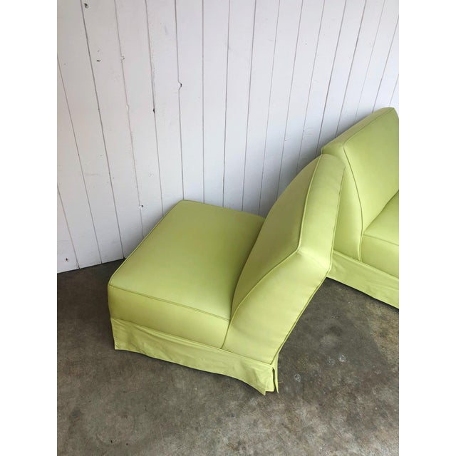 Chartreuse Vintage Custom Made Skirted Lounge Chairs in New Chartreuse Fabric - a Pair For Sale - Image 8 of 11