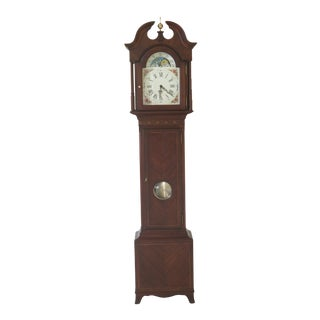 1980s Vintage Seth Thomas Mahogany Multi Chime Setting Grandfather Clock For Sale