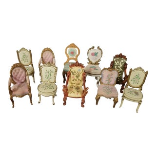 1990's Vintage Victorian Style Doll Chairs- Set of 10