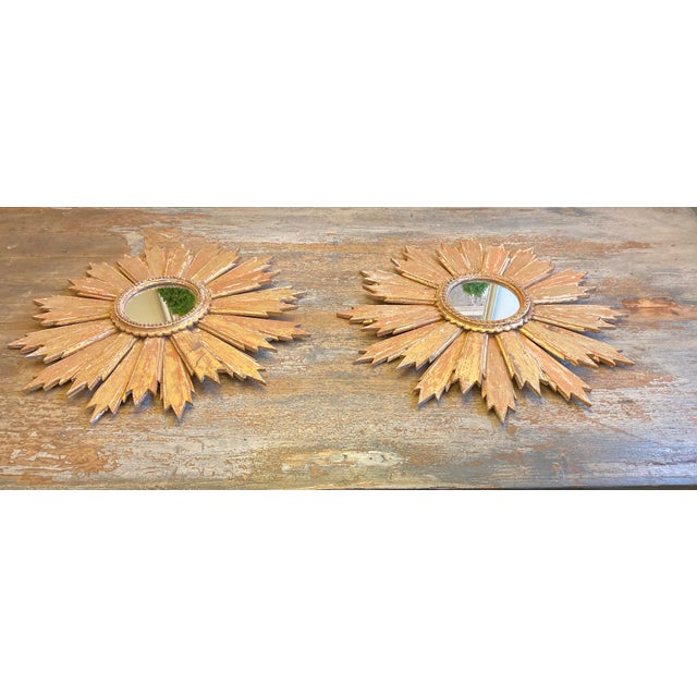 Italian Pair of Italian Sunburst Mirrors With Wood Rays For Sale - Image 3 of 12