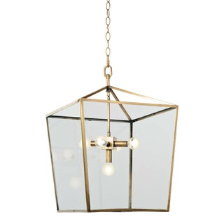 Camden Lantern in Natural Brass For Sale