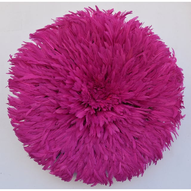"""Pink Large 30"""" Pink African Feather Juju Hat Wall Hanging For Sale - Image 8 of 8"""