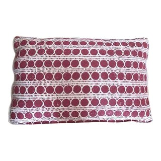 Contemporary Red Print Kidney Pillow For Sale