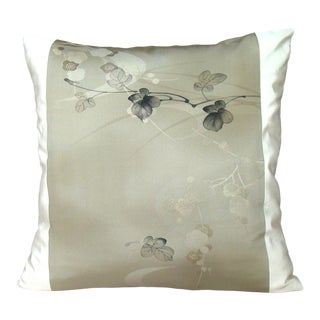 Delicate Plum Branch Japanese Kimono Pillow Cover For Sale
