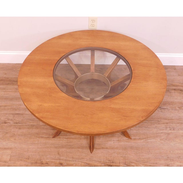 Wood Broyhill Brasilia Mid Century Modern Walnut Cathedral Coffee Table For Sale - Image 7 of 12