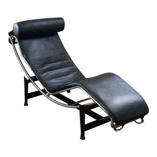 1980s Vintage Le Corbusier Style Leather Lounge Chair For Sale
