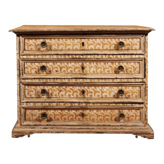 17th Century Florentine Tall Four-Drawer Commode with Painted Floral Motifs For Sale