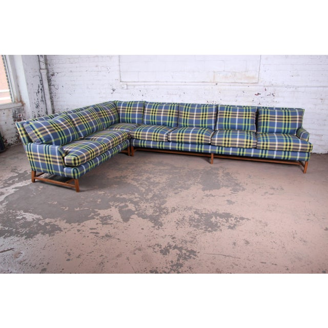 A. Rudin Down Filled Two-Piece Sectional Sofa in Plaid Upholstery For Sale - Image 13 of 13