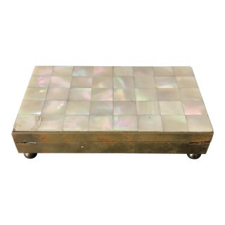 Vintage Brass and Mother of Pearl Card Case For Sale