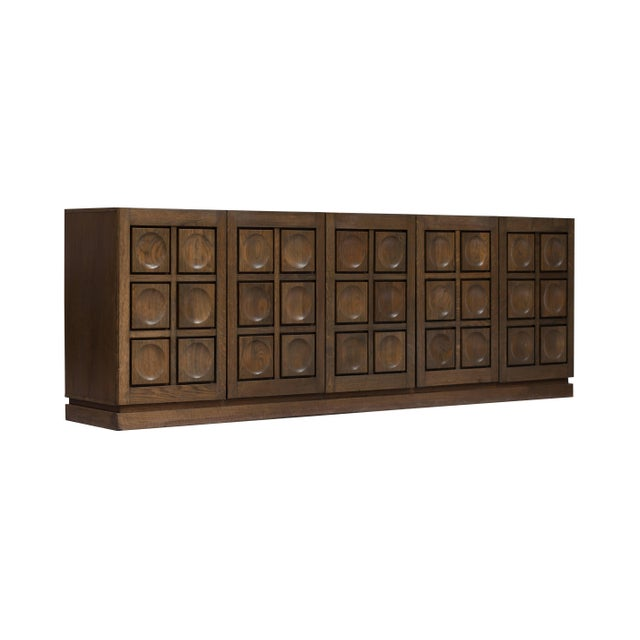 1970s Brutalist Stained Oak Credenza, 1970s For Sale - Image 5 of 11