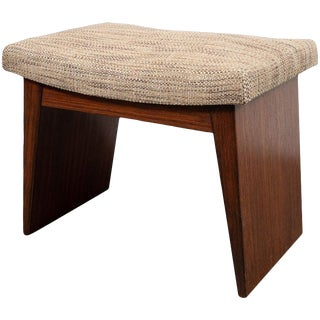 Art Deco Directoire Style Geometric Bookmatched Walnut Upholstered Bench For Sale
