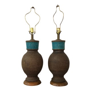 Mid Century Ceramic Italian Bitossi Lamps - a Pair For Sale