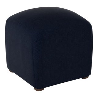 Linen Navy Cube Ottoman For Sale