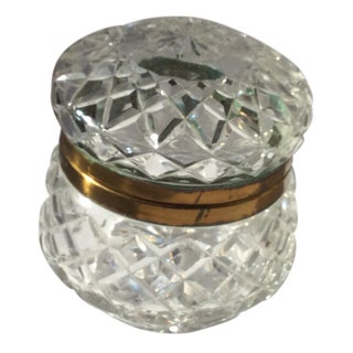 Vintage Round Crystal Box For Sale