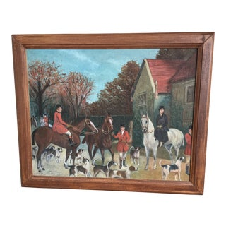 Vintage Mid-Century Equestrian Scene Oil Painting For Sale