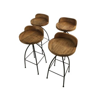 Wood and Iron Bar Stools - Set of 4