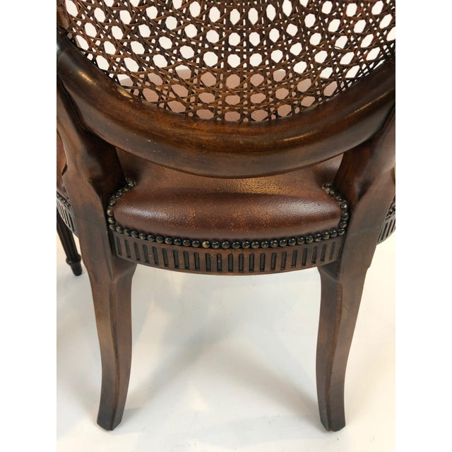 Caned Cameo Back Armchair With Leather Seat For Sale - Image 11 of 12