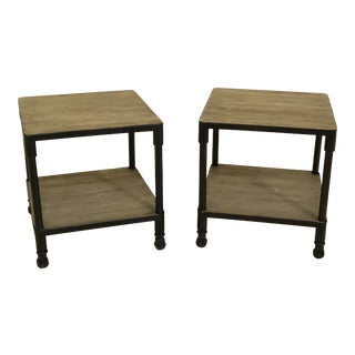Industrial Style Living Room End Tables - a Pair For Sale