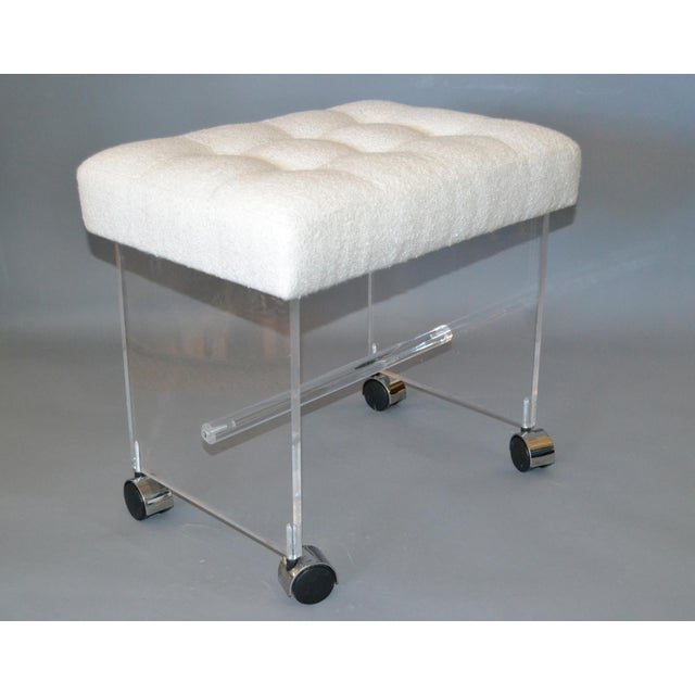 Mid-Century Modern Lucite Stool, Vanity Stool Tufted Boucle Fabric Seat Casters For Sale - Image 12 of 12