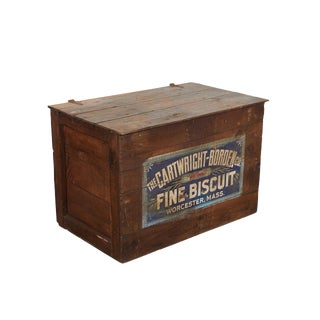 """Antique Lidded Wooden Crate with """"Fine Biscuit"""" Advertising For Sale"""