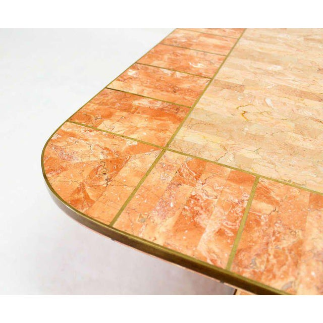 Contemporary Maitland-Smith Tessellated Stone and Brass Mid-Century Modern Coffee Table For Sale - Image 3 of 10