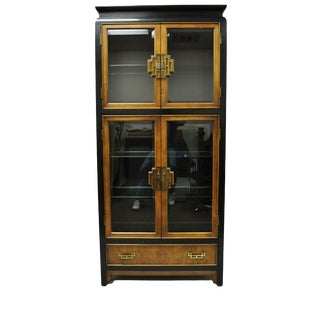 Century Chin Hua Burl Wood China Cabinet For Sale
