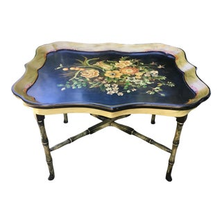 1960s English Traditional Floral Tray Table For Sale