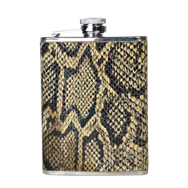 Vintage Python & Steel Flask - Image 3 of 3