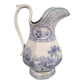 Antique Staffordshire Blue and White Transferware Large Pitcher For Sale