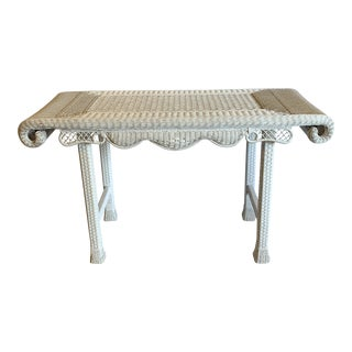Asian Style White Wicker Console Table For Sale