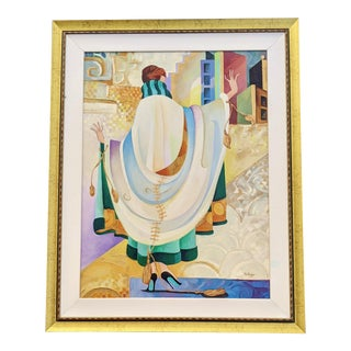 Vintage Modern Framed Fashion Oil Painting on Canvasour of Paris by Pam Rogers For Sale