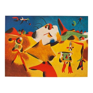 "1947 Juan Miró, Original Period Parisian Lithograph ""Characters, Mountain, Sky, Star and Birds"" For Sale"