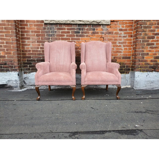 Vintage Blush Pink Velvet Armchairs French Provincial Dusty Rose Pink Velvet Wingback Chairs Each Chair Measures: 28...