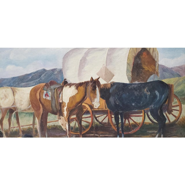 "Vintage American West Oil Painting ""Lunch Time"" by William Metter C.1940s For Sale - Image 9 of 11"