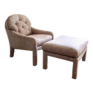 Charlton Furniture Upholstered Lounge Chair and Ottoman For Sale