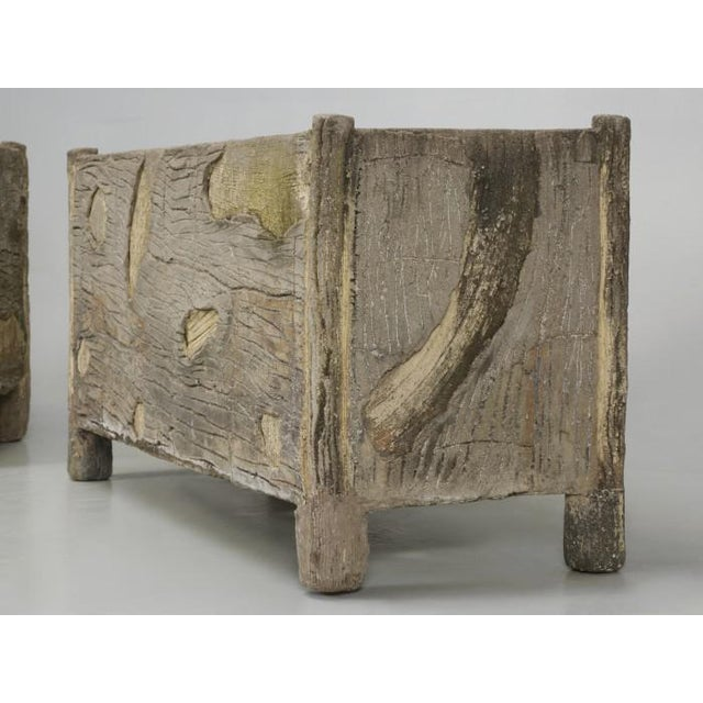 Rare Pair of Vintage French Faux Bois Planters For Sale - Image 12 of 13
