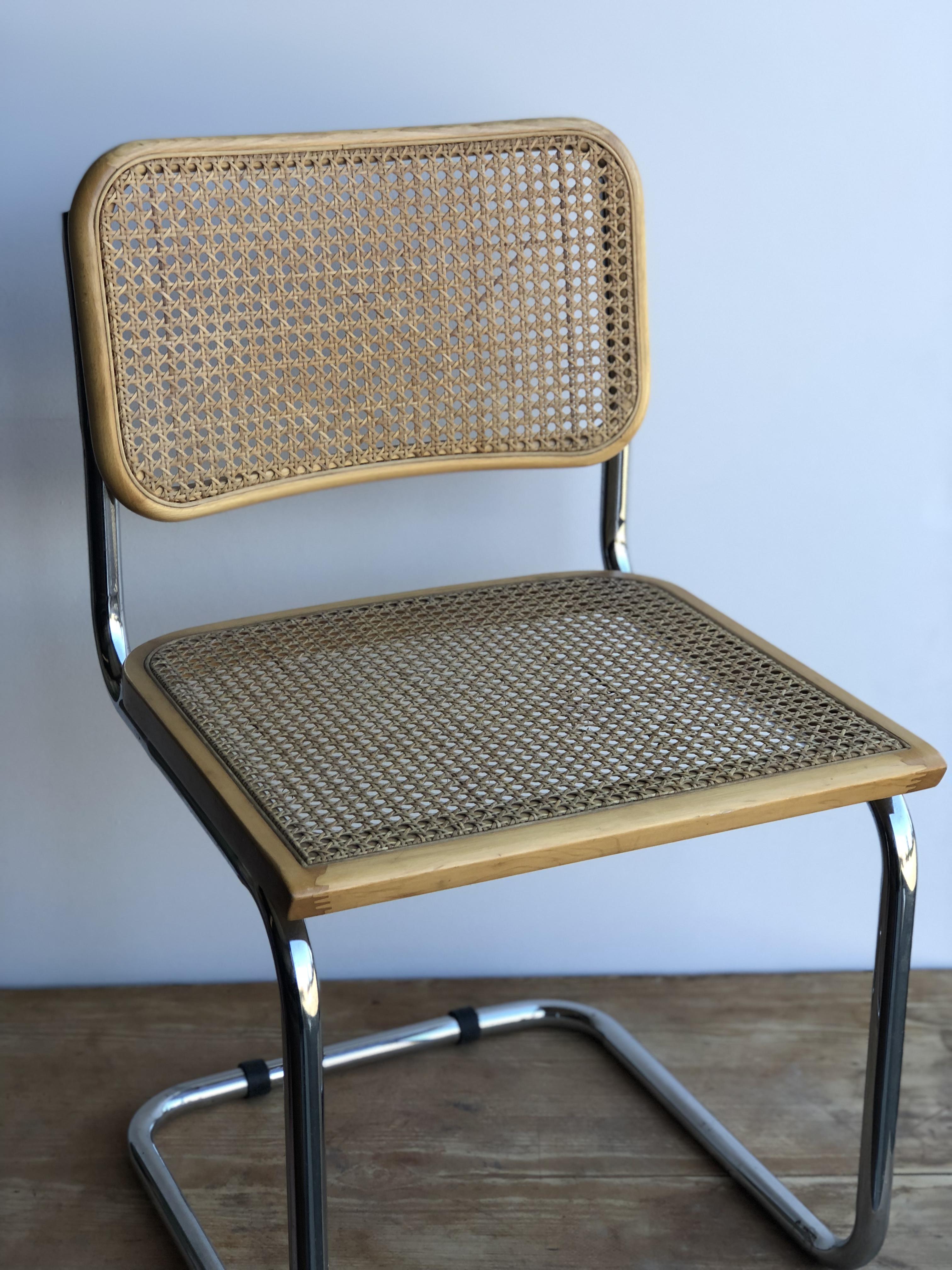 Marcel Breuer Chrome Tubular Cane Seat Dining Chair   Image 2 Of 5