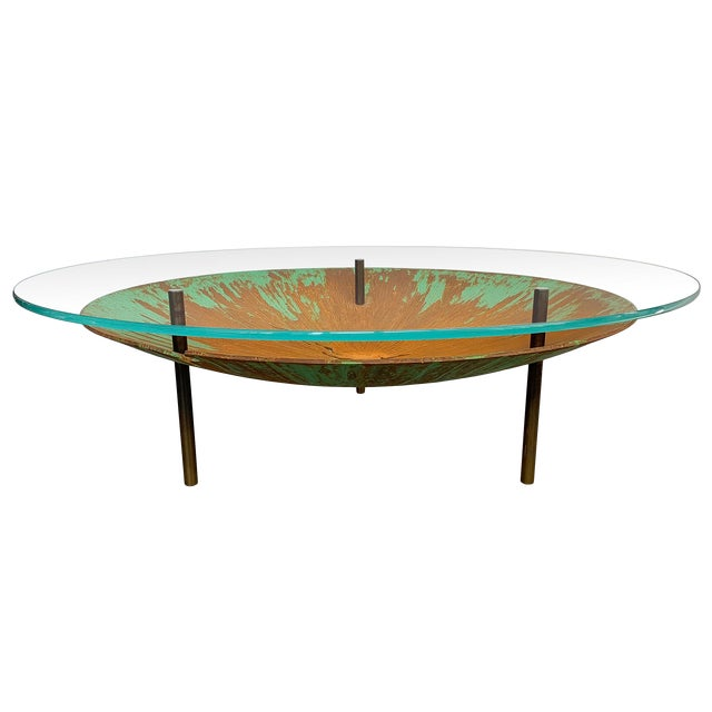 """David Orth Patinated Steel """"Meteorite"""" Coffee Table For Sale"""