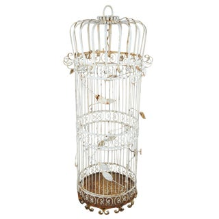Antique Victorian Wrought Iron Hanging Dome Bird Cage For Sale