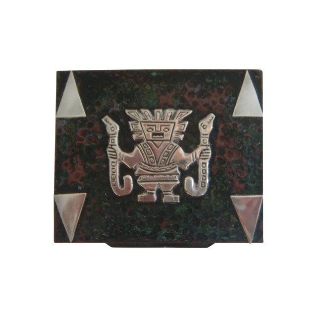 Vintage Aztec Cigarette / Cigar Box, Solid Silver Appliqué on Copper (Humidor) For Sale