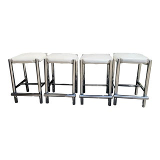 Vintage Mid Century Chrome Counter Stools- Set of 4 For Sale
