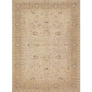 Handwoven Agra Inspired Wool Rug For Sale