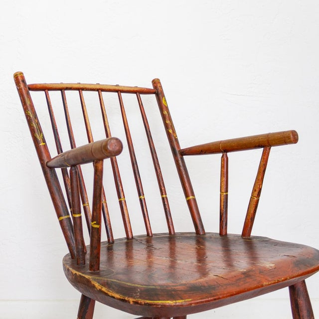 Wood Grain Painted Spindle Back Rocking Chair | 19th Century Red Primitive Antique For Sale - Image 7 of 12