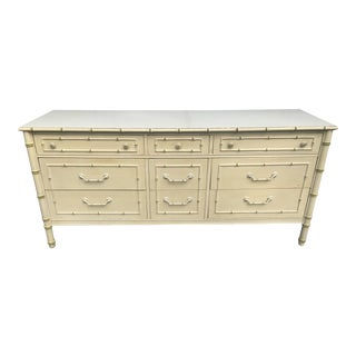 1970s Chippendale Thomasville Faux Bamboo 9 Drawer Dresser