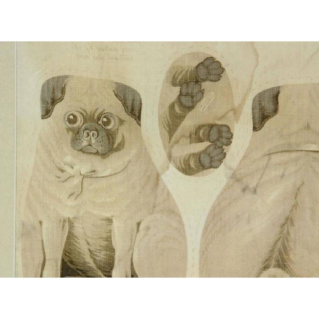 """Antique """"Pug Puppies"""" printed pattern, printed linen with instructions for pillow making. Stamped Arnold Print Works,..."""